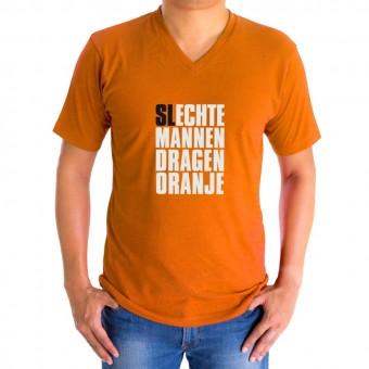"""Heren V-hals t-shirt """"Slechte mannen dragen oranje''"""